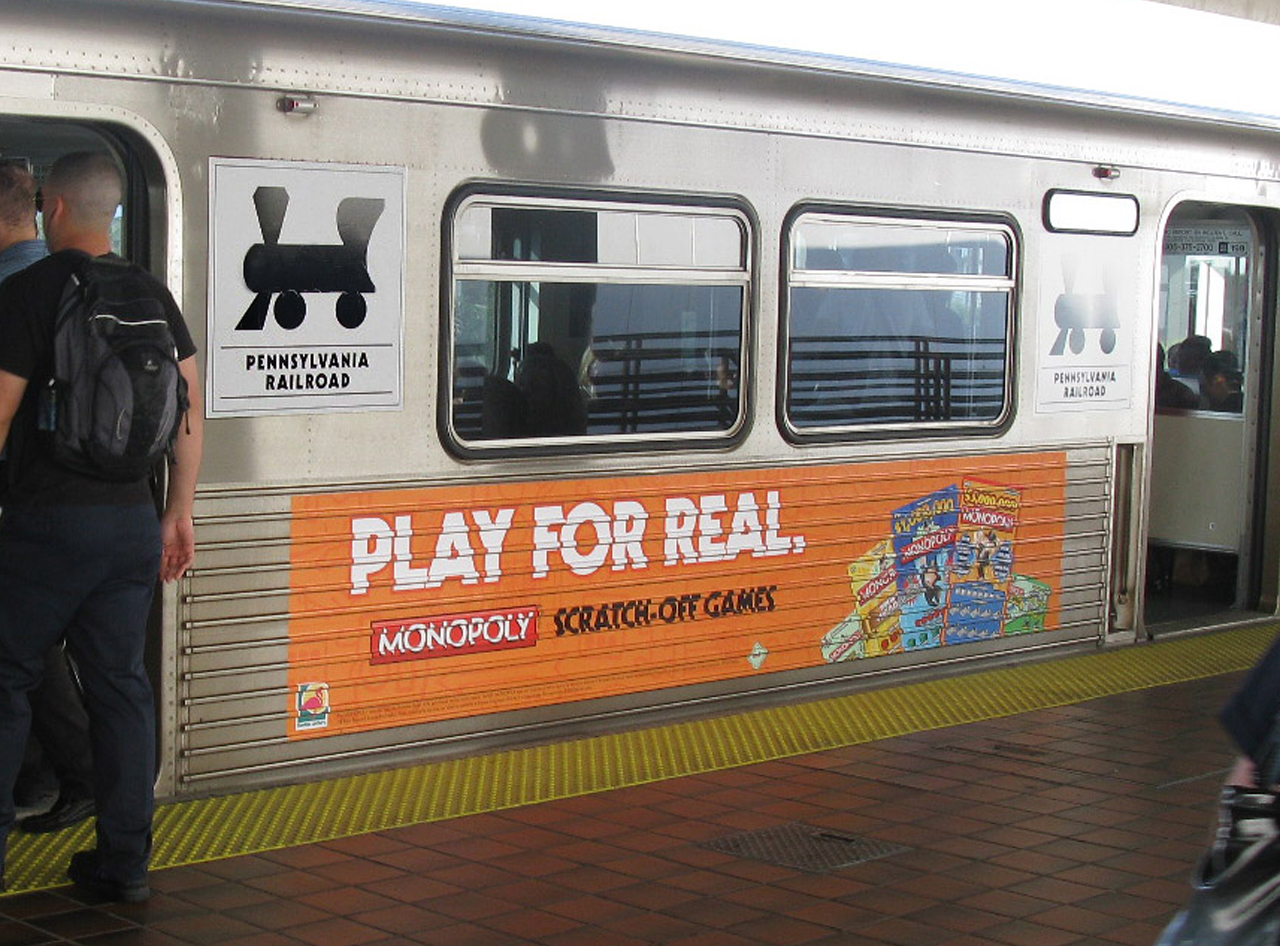 Train Signs for Florida Lottery's Monopoly Scratch-Off Game